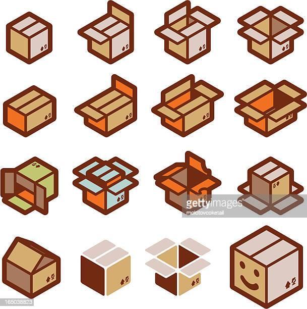 """ilustrações, clipart, desenhos animados e ícones de pensar """"fora da caixa (vector - papelão papel"""