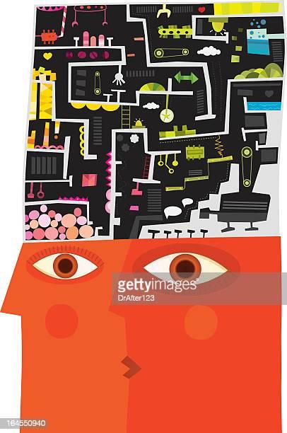 illustrations, cliparts, dessins animés et icônes de processus de raisonnement - cubisme