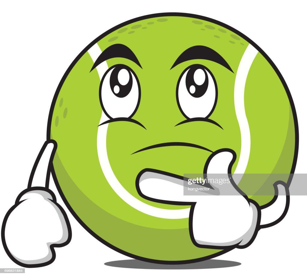 Thinking tennis ball cartoon character vector illustration