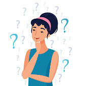 Thinking woman with question marks.