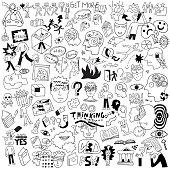 thinking,psychology,sick people - doodle set
