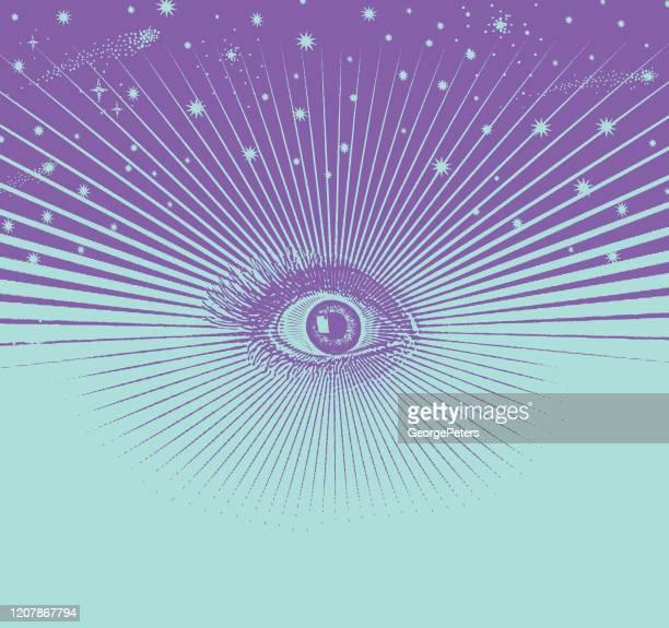 bildbanksillustrationer, clip art samt tecknat material och ikoner med tredje ögat med ett universum och stjärnor - chakra