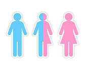 Third gender made of half male and half female pictogram