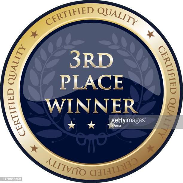 bildbanksillustrationer, clip art samt tecknat material och ikoner med tredje plats vinnare lyx gold shield label - tredje plats