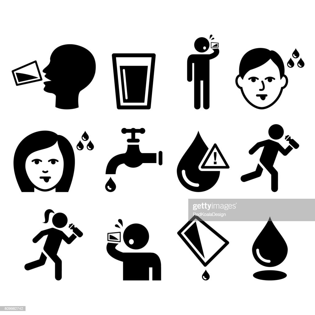 Thirsty man, dry mouth, thirst, people drinking water icons set