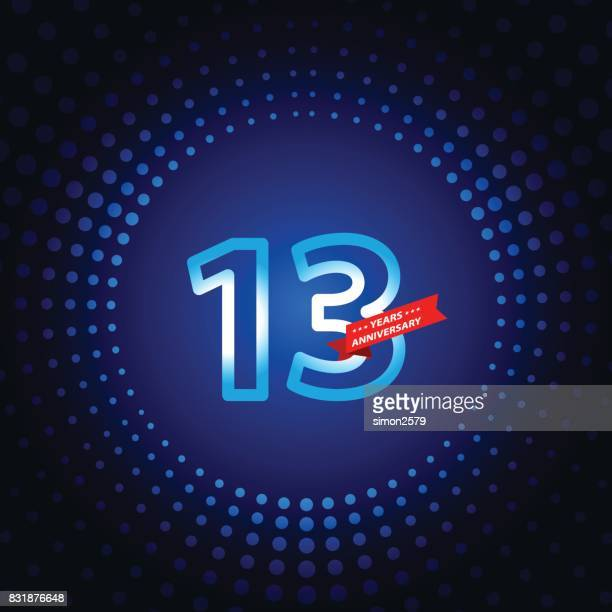 thirteen years anniversary icon with blue color background - 12 13 years stock illustrations