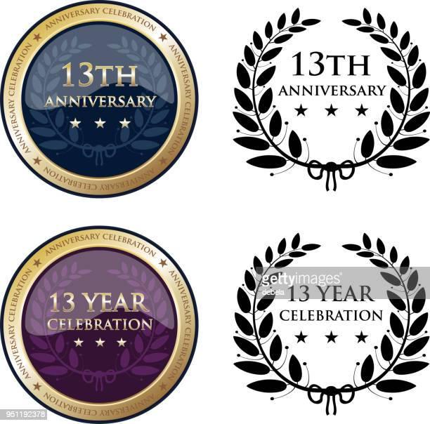 13 周年記念ゴールド メダル - 聖年点のイラスト素材/クリップアート素材/マンガ素材/アイコン素材