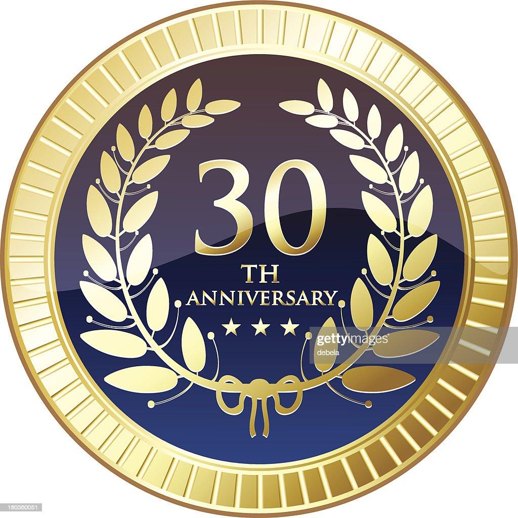 Thirtieth Anniversary Gold Medal : stock illustration