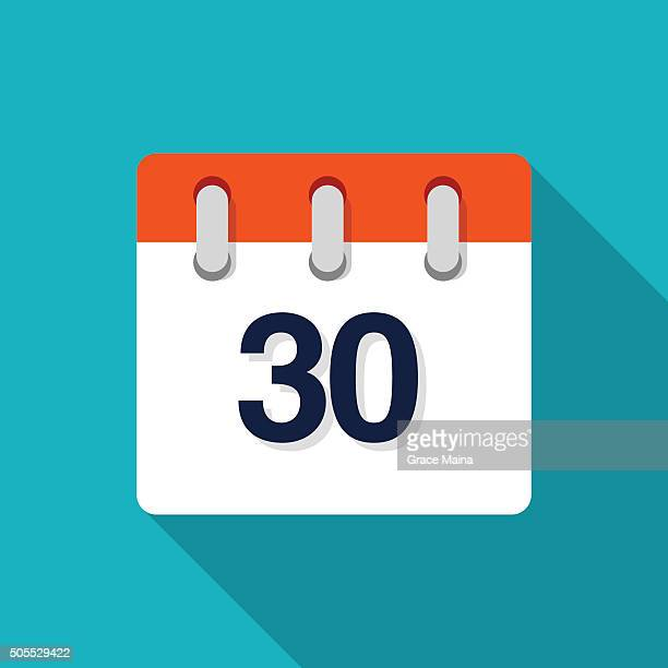 thirtieth flat design calendar icon - vector - day stock illustrations