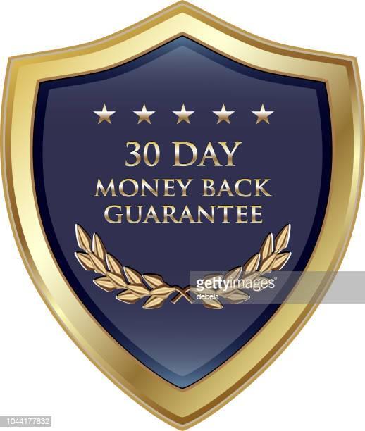 30 日間のお金の背部保証高級金の盾 - 数字の30点のイラスト素材/クリップアート素材/マンガ素材/アイコン素材