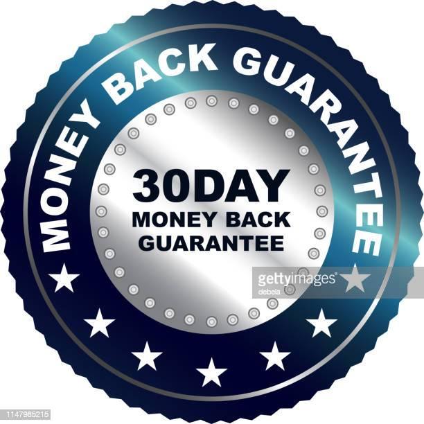 30日間のお金の背部保証シルバーバッジ - 数字の30点のイラスト素材/クリップアート素材/マンガ素材/アイコン素材