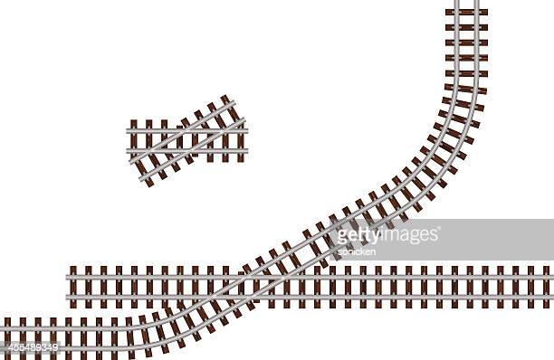 thirty degree crossing track - rail freight stock illustrations, clip art, cartoons, & icons
