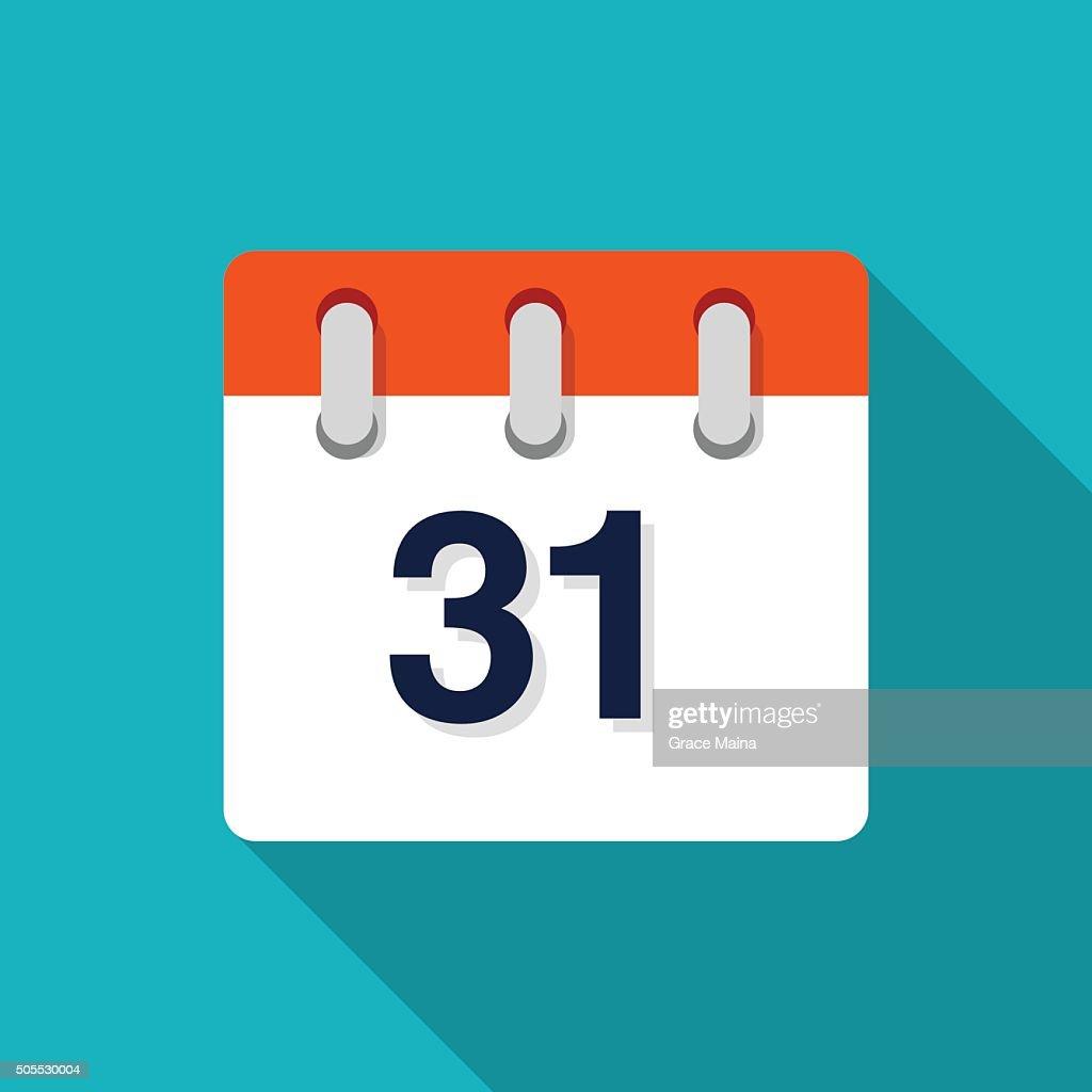 Thirty First Flat Design Calendar Icon - VECTOR : stock illustration