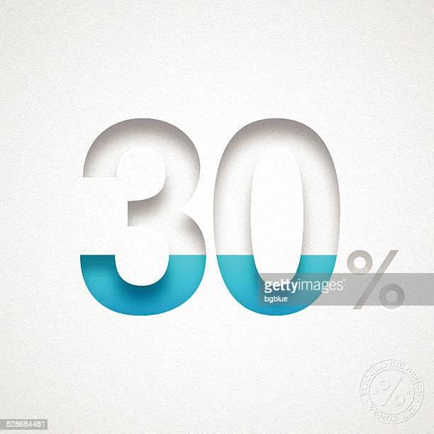 30 パーセントのデザイン(30% )-ブルー番号を水彩画紙 - 数字の30点のイラスト素材/クリップアート素材/マンガ素材/アイコン素材