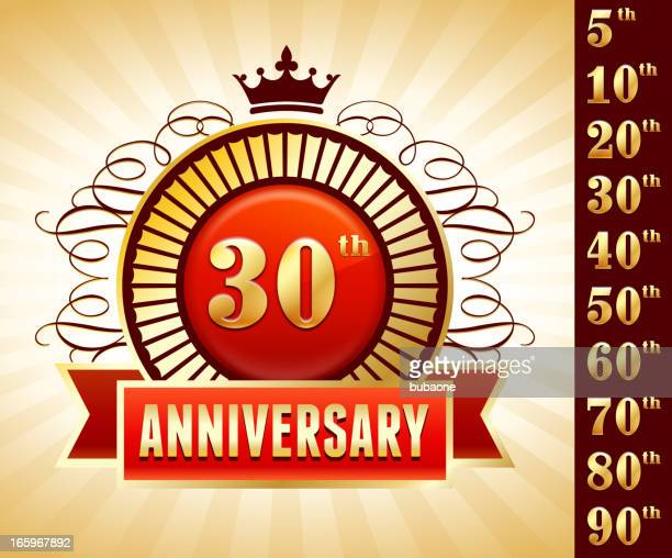thirty year anniversary badges red and gold collection background - 45 49 years stock illustrations, clip art, cartoons, & icons