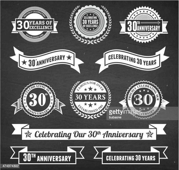 thirty year anniversary hand-drawn chalkboard royalty free vector background