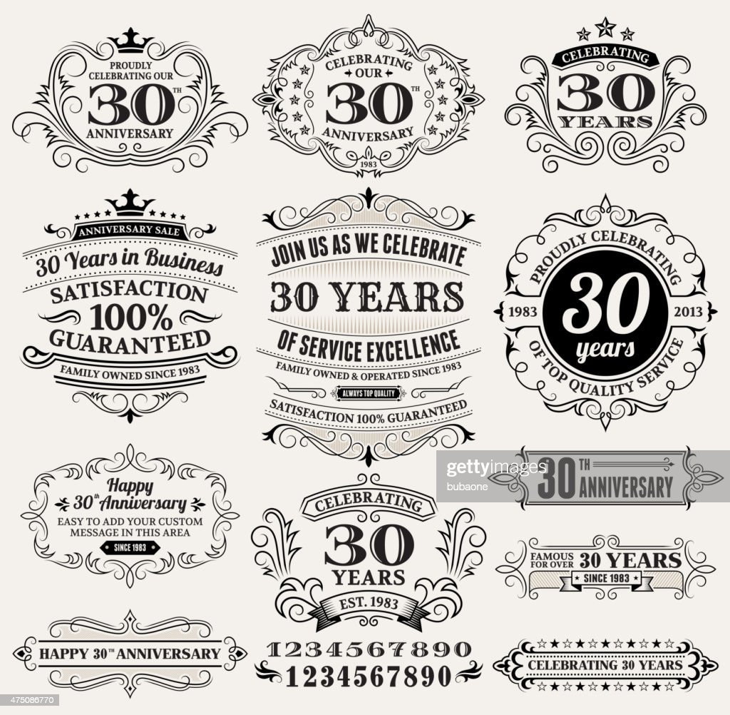 thirty year anniversary hand-drawn royalty free vector background on paper : stock illustration