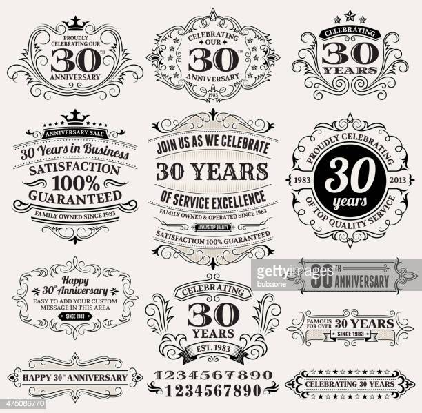 thirty year anniversary hand-drawn royalty free vector background on paper