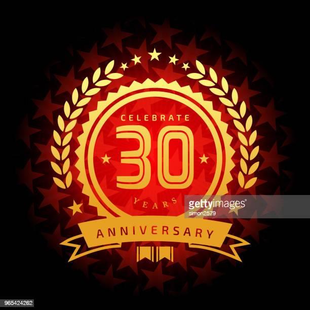 星の形の赤い色の背景を持つ 30 年周年記念アイコン - 30周年点のイラスト素材/クリップアート素材/マンガ素材/アイコン素材