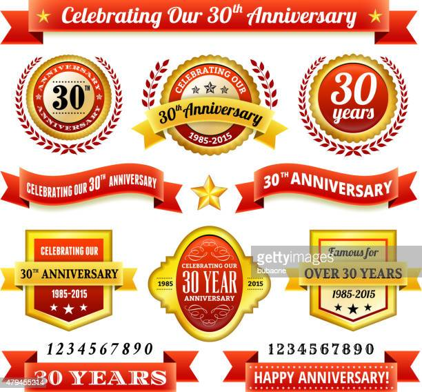 thirty year anniversary royalty free vector background with golden badges