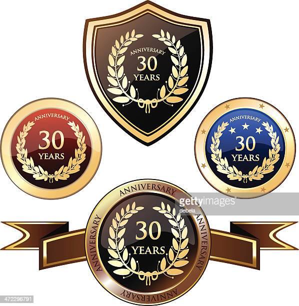 30 jahre jubiläum-abzeichen - 30 34 years stock-grafiken, -clipart, -cartoons und -symbole