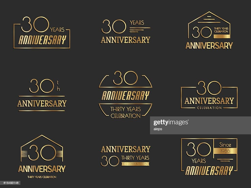 Thirty years anniversary celebration logotype collection. 30th anniversary logo.
