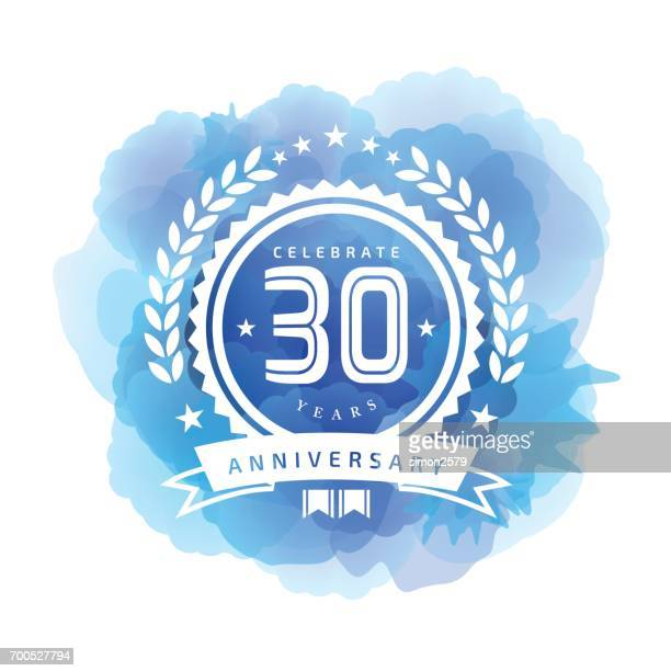 Thirty Years Anniversary Emblem on blue color watercolor background