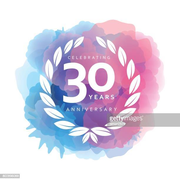 Thirty Years Anniversary Emblem on watercolor background