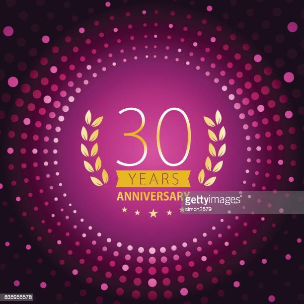 Thirty years anniversary icon with purple color background