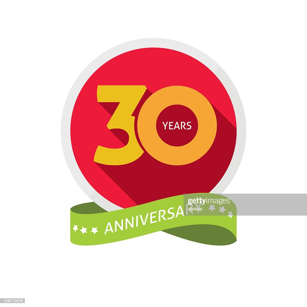 Thirty years anniversary logo, 30 year birthday sticker label