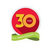 Thirty years anniversary logo, 30 year birthday sticker label