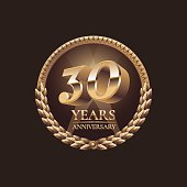 Thirty years anniversary vector icon. 30th celebration design