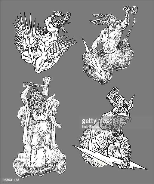 thor - god of thunder - greek mythology stock illustrations