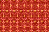 Thorny Fleur de Lis Wallpaper Background Red and Gold