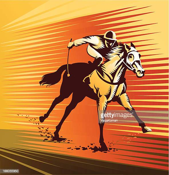 stockillustraties, clipart, cartoons en iconen met thoroughbred horse at full speed - military