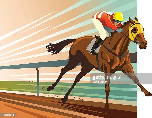 thoroughbred horse racing - horse racing stock illustrations