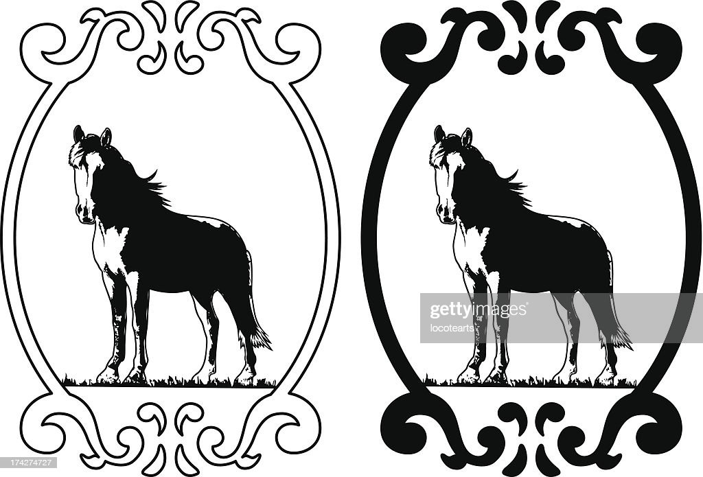 thoroughbred horse with shield