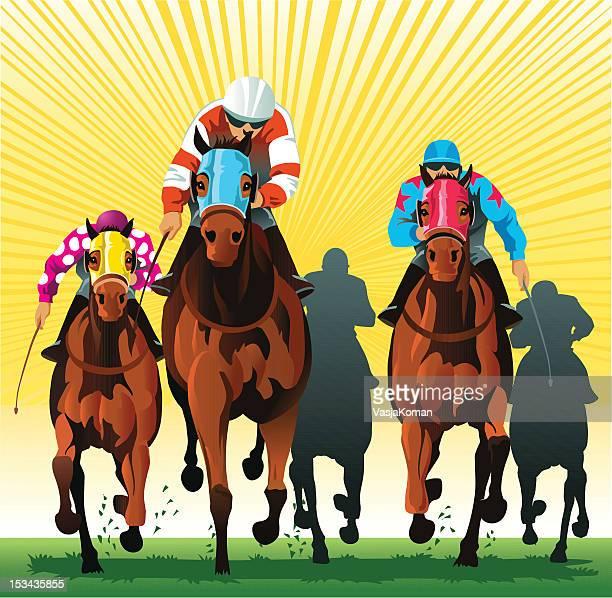 thoroughbred 馬のレースを仕上げライン - 競馬点のイラスト素材/クリップアート素材/マンガ素材/アイコン素材
