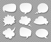 Thought balloons. Paper white speech clouds. Thinking bubbles retro 3d vector set