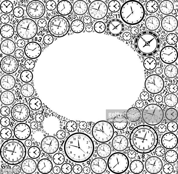 Thought Bubble on Time and Clock Vector Icon Pattern