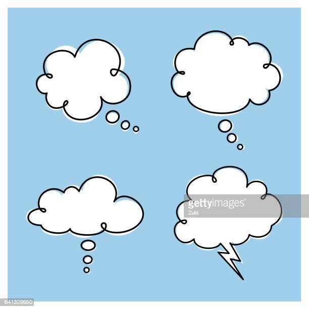thought clouds - contemplation stock illustrations