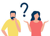 Thoughtful man and doubting woman with question mark. People solve problem, choose solution. Concept of dispute, conflict, deadlock. I do not know. Vector flat design illustration