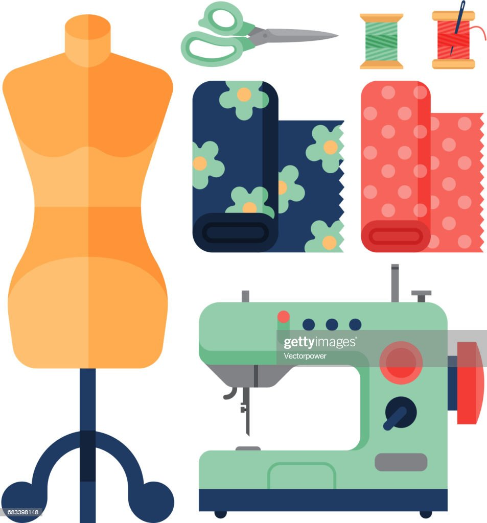 Thread supplies accessories sewing equipment tailoring fashion pin craft needlework vector illustration