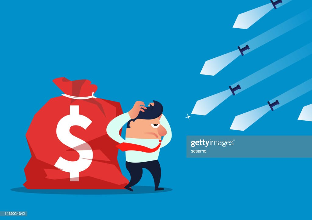 Threat, countless knives fly to businessmen and his money bag : stock illustration
