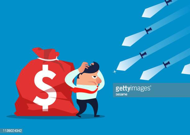 threat, countless knives fly to businessmen and his money bag - office politics stock illustrations, clip art, cartoons, & icons