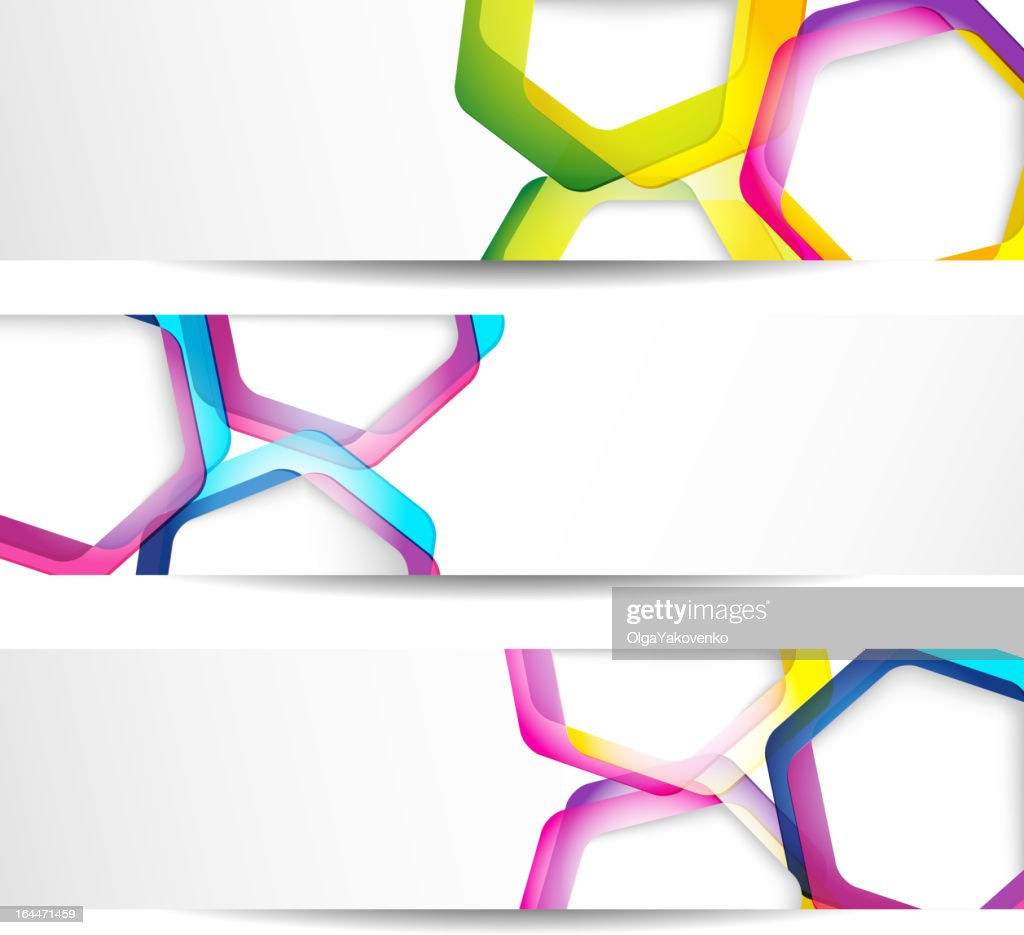 Three abstract banners on a white background