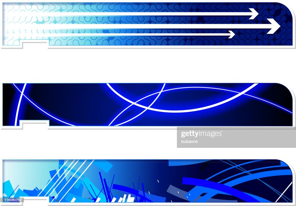 three abstract header footer images