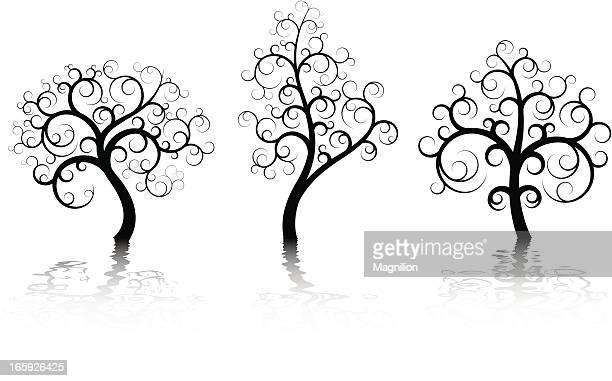 three abstract trees - bare tree stock illustrations