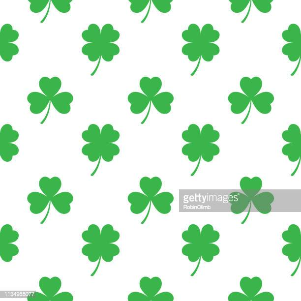 three and four leaf clover seamless pattern - four leaf clover stock illustrations