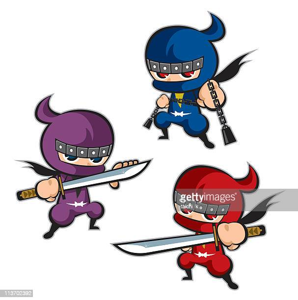 Three animated ninjas of various colors isolated on white